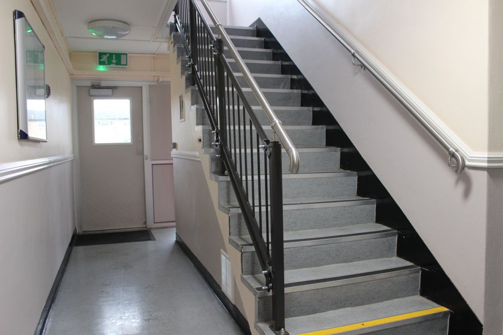 Stainless steel staircase handrails